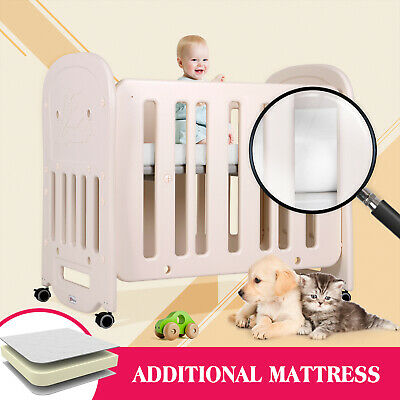 Baby Crib Beige Bedside Nursery Movable With Foam Mattress Cot Toddler Child Bed • 83.90£