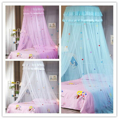 Girl Princess Bed Dome Canopy Mosquito Net Fly Insect Protect Bedroom Pink/White • 11.99£