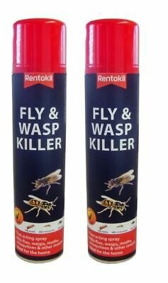 2 X Rentokil Fly & Wasp Moth Mosquito Killer Insect Spray 300ml • 10.99£