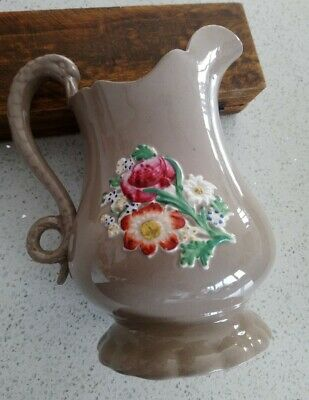 Victorian Stoneware Beige Jug Applied Colourful Flowers, Swan Handled, 20cm Tall • 13.50£