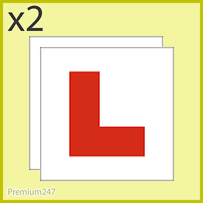 2 X L Plate Magnetic Exterior Car Pair New Pair Car Learner Plates Secure & Safe • 2.09£