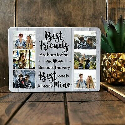£9.99 • Buy 7x5'' Wooden Photo Block Plaque Personalised Best Friend Quote Friendship Family