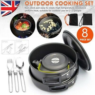 £25.59 • Buy Portable Camping Cookware Kit Outdoor Picnic Hiking Cooking Equipment Pan Kettle