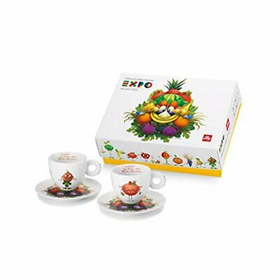 Illy Foody Art Collection 2015 Expo Milano 2 Cappuccino Cups + Saucer NEW IN BOX • 113.01£