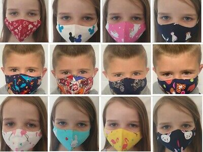 Face Mask Kids Children Face Covering Mouth Shield Protection Washable Reusable • 2.49£