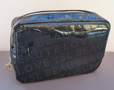 AU14.99 • Buy YSL Beauty Black Faux Patent Leather Makeup Cosmetics Bag, Brand NEW!