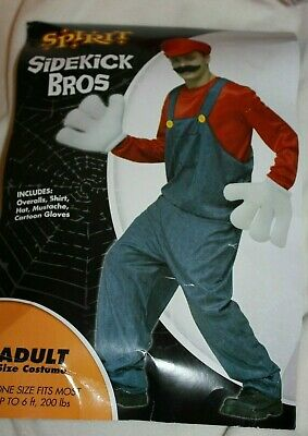 $15 • Buy Men's Super Mario Bros MARIO Fancy Dress Costume Adult  Red  Plumber Outfit VGUC