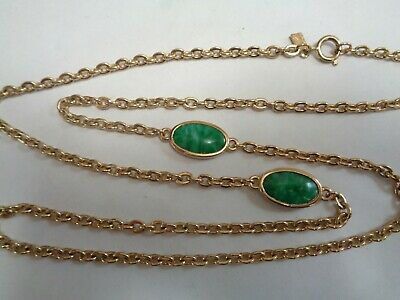 $7.99 • Buy Signed EMMONS Gold Tone Link Chain With Green Marble Beaded Necklace 32 In LONG