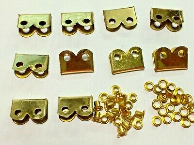 WWI WWII BRASS Hardware Suitable For P08 P37 Webbing Set ENDS / TIPS Set Of 10 • 32.73£