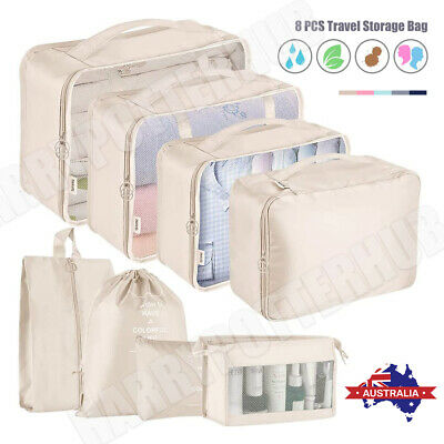 AU22.59 • Buy 8PCS Packing Cubes Travel Pouches Luggage Organiser Clothes Suitcase Storage Bag