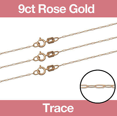 £22.50 • Buy 9ct Rose Gold Trace Necklace Chain 16 /18 /20  Fine Jewellery