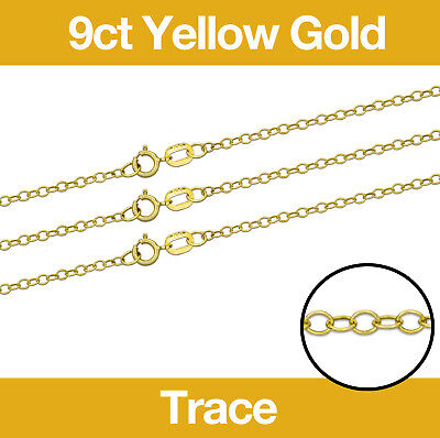 £16.55 • Buy 9ct Yellow Gold Trace Jewellery Chain 16-20  Necklace