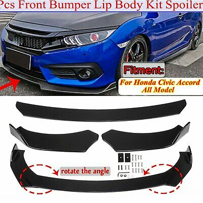 $52.92 • Buy Glossy Black Front Bumper Lip Spoiler Splitters Body Kit For Honda Civic Accord