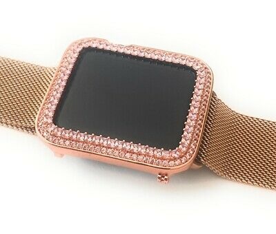 $ CDN136.49 • Buy Bling Apple Watch Pink Princess Zirconia Rose Gold Case Cover Bezel 38/42mm