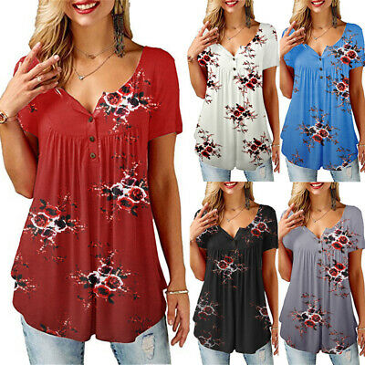 Women Floral Short Sleeve Loose Fit V Neck Blouse Ladies Casual Shirt Tops Tunic • 9.28£