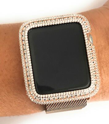 $ CDN119.84 • Buy EMJ Series 1,2,3 Bling Apple Watch Bezel Case Rose Gold Plated Zirconia 38/42 Mm