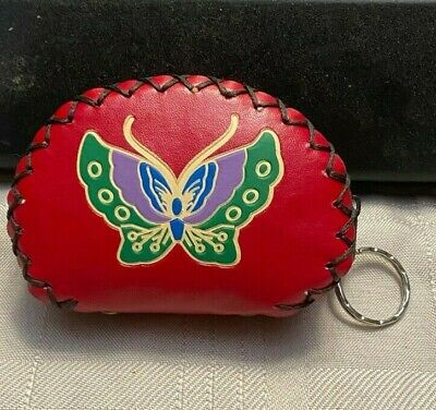 $8.99 • Buy Butterfly Change Coin Purse Small Keys Card Mini Pouch Red Leather