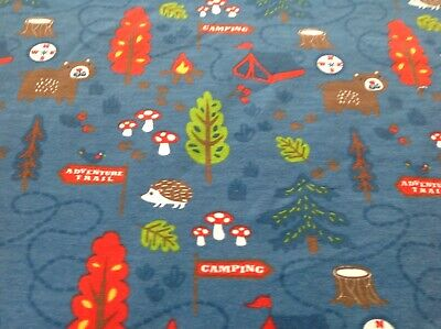 Cotton  Jersey Happy Campers Fabric Knit Stretch Kids Print Price Per Meter • 12£