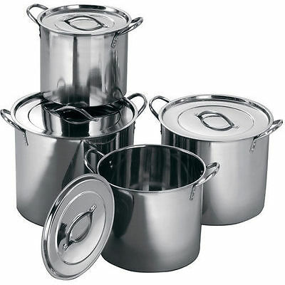 £35.99 • Buy 4 Pc Stainless Steel Large Catering Cooking Stock Pot Pans With Handles & Lids