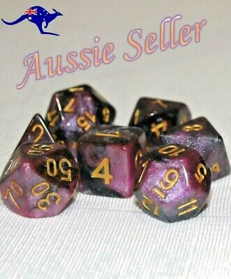 AU10.98 • Buy Dice 7 Pce Set Polyhedral Glitter Pearl D & D Pathfinder Dungeons & Dragons RPG