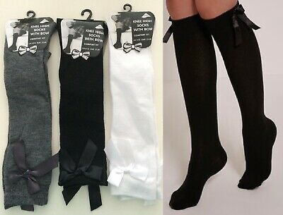 Bow School Girls Socks Girls Knee High  With Bows Long Cotton Rich Party Socks  • 4.49£
