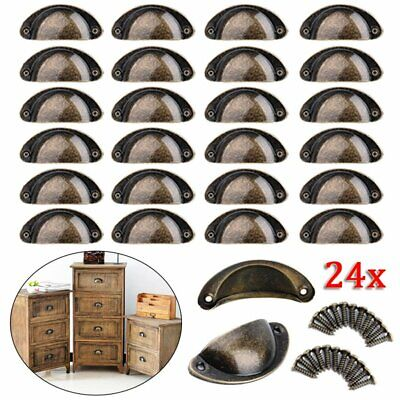 AU15.59 • Buy 24 X Cupboard Door Cabinet Cup Drawer Furniture Retro Antique Pull Shell Handle