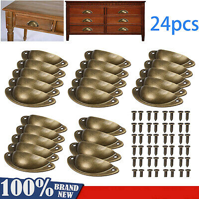 AU20.85 • Buy 24X Antique Retro Shell Cupboard Door Cabinet Knob Drawer Furniture Pull Handle