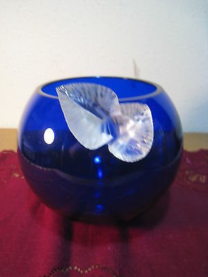 $16 • Buy Cobalt Blue Glass Hand Blown Bowl Vase With Clear Leaves Attached  Astral