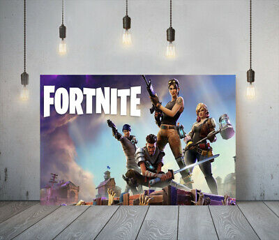 Fortnite 1 -deep Framed Canvas Game Wall Art Picture Paper Print- Blue Brown • 19.99£