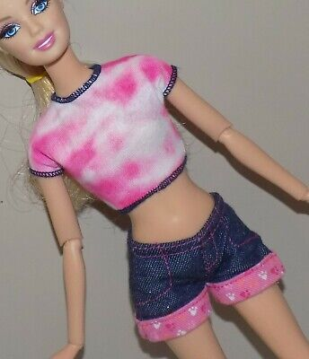 $6 • Buy Barbie Outfit Tie Dye Shirt Jean Shorts Fits Fashionista Model My Scene Liv Doll
