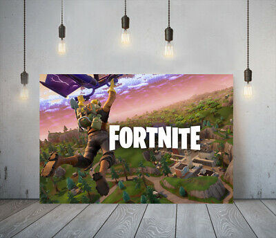 Fortnite 4 -deep Framed Canvas Game Wall Art Picture Paper Print- Green Red • 11.99£