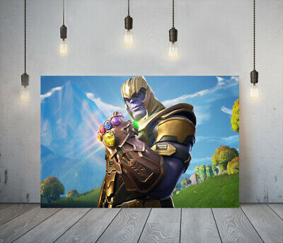 Fortnite Thanos -deep Framed Canvas Game Wall Art Picture Paper Print- Purple • 24.99£