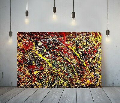 Jackson Pollock 25-framed Canvas Artist Wall Art Paper Picture Print- Yellow Red • 24.99£