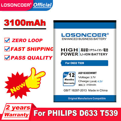 $16.38 • Buy 3100mAh AB1630DWMT High Quality Battery For PHILIPS Xenium D633 T539 W536 W635