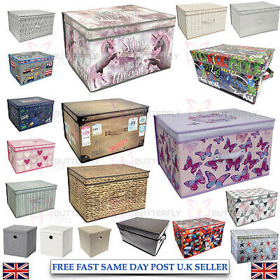 Large Collapsible Storage Box Folding Jumbo Storage Chest Kids Room Toy Box • 9.79£