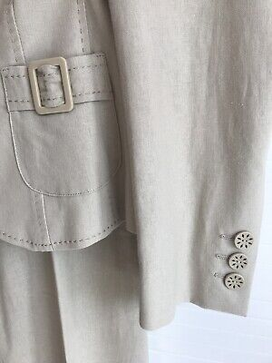 M&S Linen Blend Ladies Trouser (8) Suit With Fully Lined Jacket (10) • 20£