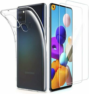 For Samsung Galaxy A21s Case Clear Slim Gel Cover & Glass Screen Protector  • 3.90£