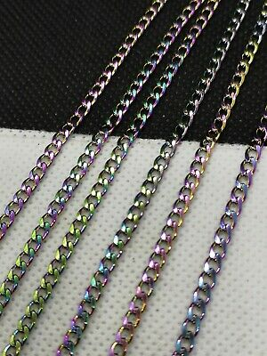 £4.85 • Buy Loose Stainless Steel Rainbow Curb Chain. Links 4.5x3x1mm. By Metre (PHCC 03)