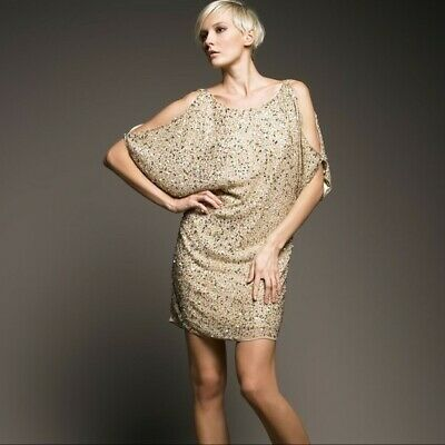 $99.99 • Buy NWT AIDAN MATTOX Size 12 Women's Gold Sequined Cold-Shoulder Dress Keyhole Back