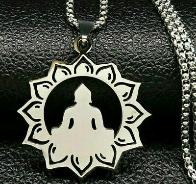 $ CDN12.04 • Buy Lotus Buddha Flower Yoga Sacred Geometry Amulet Pendant Necklace Stainless Steel