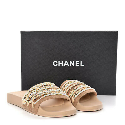 AU750 • Buy CHANEL Gold Chain Pearl Lambskin Slides