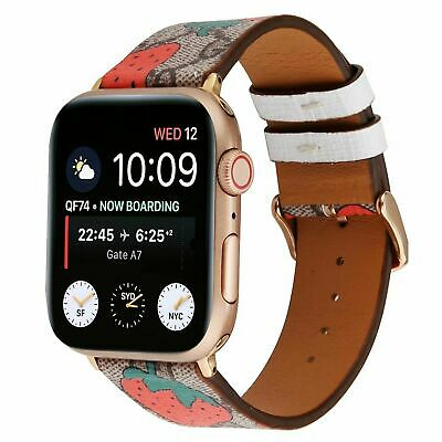 $ CDN19.58 • Buy IWatch Band Leather &flower Pattern Apple Watch Series 5/4/3/2/1 38/40/42/44MM