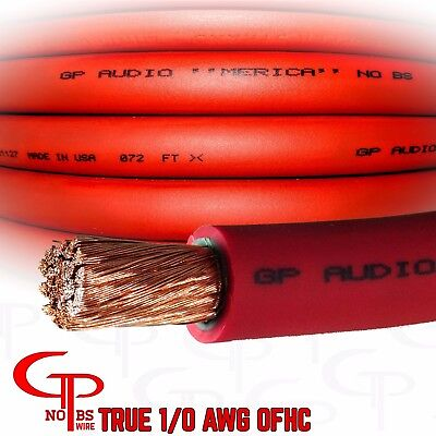 $66.99 • Buy 15 Ft TRUE AWG 1/0 Gauge OFC COPPER RED Power Wire Ground Cable GP Car Audio