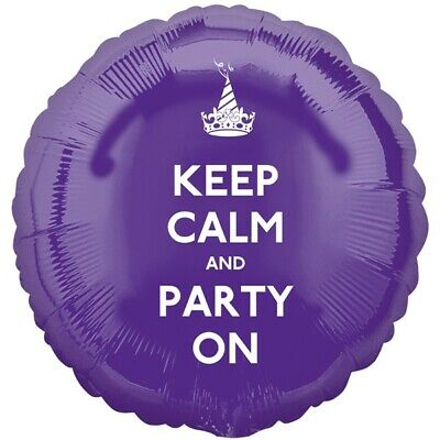 Sale! Keep Calm And Party On Purple Foil Balloon 17  By Anagram  • 3.29£