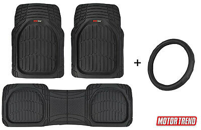 $37.79 • Buy Steering Wheel Cover + All Weather Deep Dish Floor Mats By Motor Trend Universal
