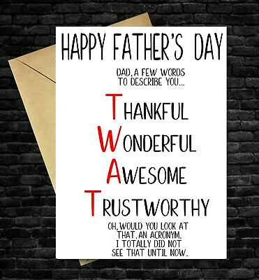 £2.99 • Buy Funny Fathers Day Card TWAT RUDE Comedy Humour Cheeky Joke Dad Daddy Father