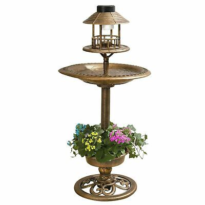Bird Bath & Feeder With Solar Power Light Birds Table Garden Station Ornament • 19.89£
