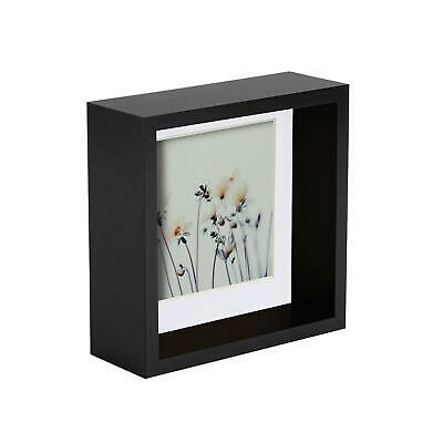 £9.99 • Buy 6 X 6 3D Box Frame Photo Picture Deep Display Shadow With 4 X 4 Mount  Black