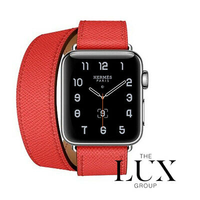 AU1288.28 • Buy Hermes Apple Watch Double Tour Rose Jaipur Epsom 38mm 40mm New Band ONLY