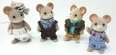 Sylvanian Families Maces Mouse Family Rare Retired Figures Mice • 28.99£